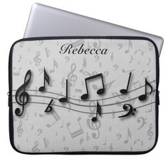 Personalized Black and Gray Musical Notes Laptop Sleeve