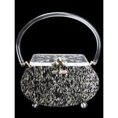 Vintage black and gold confetti lucite handbag