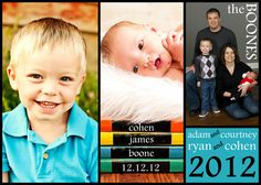 Money-saving photo card tip:  Make your own 5x7 collage using a free photo editing program like Picasa, then purchase 5x7 prints online (such as on Winkflash, Snapfish, etc.)  5x7's are usually much cheaper than Christmas card / Baby Announcement template cards. Buy envelopes separately on Amazon.