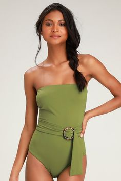 9e3f625c14b Take the Lulus Rejuvenate Olive Green Strapless Belted One-Piece Swimsuit on