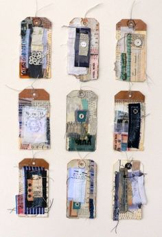 COLLAGE TAGS - Shelley Rhodes - i love decorated labels, something i should really try for starting my sketch book Textiles Sketchbook, Creation Art, Sketchbook Inspiration, Sketchbook Ideas, Gcse Art Sketchbook, Sketchbook Cover, A Level Art, Mixed Media Collage, Collage Book