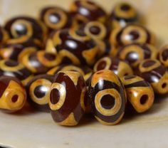 Small three eye dzi beads carnelian DZL328