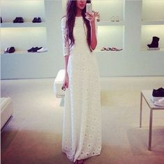 White Elegant Floral Lace Women Maxi Dress | Daisy Dress for Less | Women's Dresses & Accessories