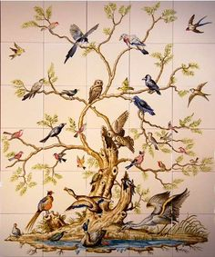Bird tree on hand painted tiles - I would love to have this mural in my home! Tile Murals, Wall Mural, Wall Tiles, Chinoiserie Wallpaper, Bird Tree, Handmade Tiles, China Painting, Large Art, House Painting
