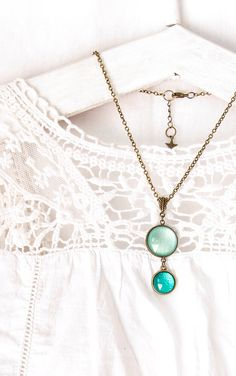 Teal Pendant Necklace, Statement Necklace , Pale Aqua and Teal, Brass Pendant by oomanooti on Etsy https://www.etsy.com/listing/235479136/teal-pendant-necklace-statement-necklace