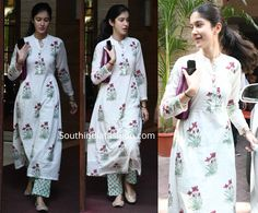 While out and about, Shanaya Kapoor was photographed in an off-white printed kurta set by The Loom. She kept the rest of her look simple! Pakistani Fashion Casual, Indian Fashion Dresses, India Fashion, Indian Outfits, Simple Kurta Designs, Kurta Designs Women, Churidar Designs, Casual Dress Outfits, Trendy Dresses