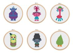 Trolls Cross Stitch Patterns - 6 Different Characters! Poppy, Branch, Biggie, Cooper, Mr Dinkles, Fuzzbert