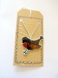 Original Bird necklace  shrink plastic pendant  hand by Amy of Floralchic on Etsy.