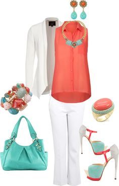 """""""turquoise coral & white suit"""" by themakeupbag on Polyvore"""