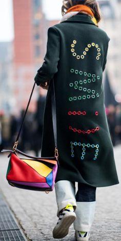 Shop now. Mira Mikati dark green 'Smile' coat.