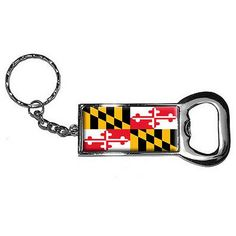 Maryland State Flag Keychain Key Chain Ring Bottle Bottlecap Opener, Silver
