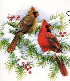 Solve Red Beauties jigsaw puzzle online with 255 pieces Christmas Bird, Christmas Scenes, Watercolor Bird, Watercolor Paintings, Bird Paintings, Beautiful Birds, Animals Beautiful, Cardinal Birds, All Nature