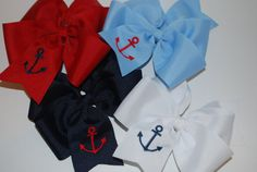 Embroidered Anchor Hair Bow