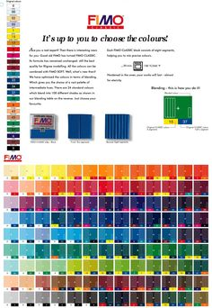 Colour chart for Fimo polymer clay