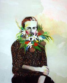 "Saatchi Art Artist Hanna Ilczyszyn;  Slikarstvo, ""Portret s cvetjem"" #art"