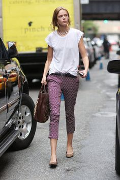 Street style, printed pants  I like the flat shoes with it.  Could I do this at work?