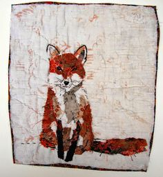 Mandy pattullo fox patchwork fabric embroidery