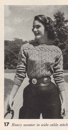 Equestrian Ropes • 1950s Knitting Knitted Ladies' Sweater Cabled Top Blouse Sweater • 50s Vintage Pattern • Retro Women's Knit Digital PDF