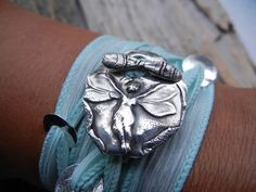 Silver Wrap Bracelet Hand Dyed Silk Ribbon Yoga by HappyGoLicky, $49.00  So Gorgeous! I WANT IT!!!