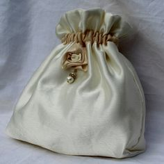 Gold satin drawstring pouch, hand made bag, bridal bag ...
