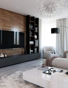 amazing tv wall design ideas for living room decor 14 ~ Beautiful House Lovers Cozy Living Rooms, Living Room Interior, Home Living Room, Living Room Decor, Tv Wall Ideas Living Room, Wall Cabinets Living Room, Feature Wall Living Room, Modern Tv Wall Units, Modern Wall