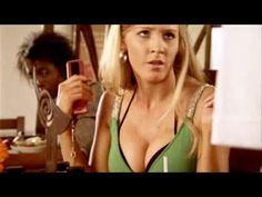 funny commercial with a big busted blonde chick.