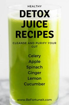 Healthy detox juice recipes to cleanse and purify your gut Healthy detox juice recipes that are made with a blender. Cleanse, detox and purify your body with these amazingly healthy juices. Juice Cleanse Recipes, Detox Juice Cleanse, Healthy Juice Recipes, Smoothie Detox, Juicer Recipes, Healthy Detox, Healthy Juices, Detox Drinks, Healthy Drinks