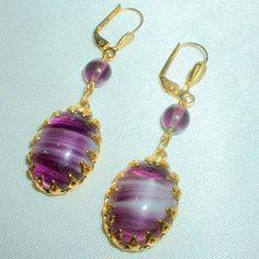 Vintage Purple Art Glass Drop Earrings by BorrowedTimes on Etsy