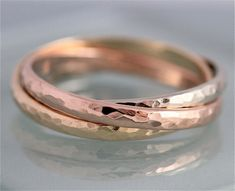 Rolling Russian Wedding Band Tri Color 14k by tinysparklestudio | smelt rose and yellow gold into one band