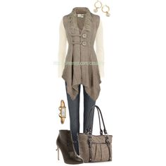 """""""Sleeveless Buttoned Cardigan & Laced Boots"""" by casuality on Polyvore"""