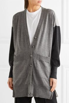 MM6 Maison Margiela - Oversized Wool And Cotton-blend Cardigan - Gray - x large