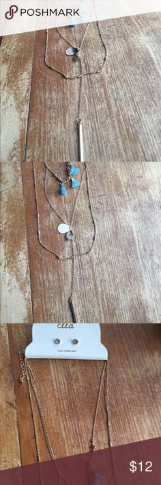 """NWT - Earrings and Necklace Set Gold Toned layered necklace with cute stud earrings. The layered necklace is attached onto 1 chain (cannot be separated). Chain is about 13"""" with some adjustable links for slightly longer/shorter. Jewelry Necklaces"""