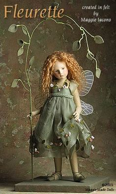 "♕ ""Fleurette"" 16.5 Inch Tall Felt Doll  Edition Size: 1  Created in 2002  by Maggie Iacono  <3<3<3"