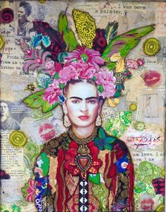 Mosaics by carrie - Contemporary Art, Abstract Art, Fine Art America Frida Kahlo collage art painting by Carrie Eckert Frida Kahlo Portraits, Frida Kahlo Artwork, Art Du Collage, Collage Artists, Frida Art, Art Sketchbook, Fine Art America, Art Projects, Contemporary Art