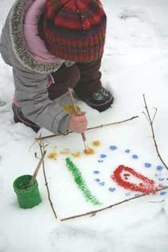 This is a fun way to extend the Art curriculum outdoors.  Make containers of branches and stones available.  The children can then use them to create a surface for painting.  Let the children paint directly onto the snow with brushes.  Encourage children to clean up by returning the sticks/stones and flipping the snow over with a shovel, then smoothing it over.