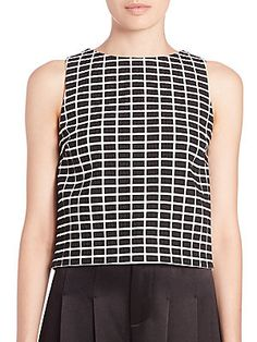Alice and Olivia Erin Grid-Print Blouse