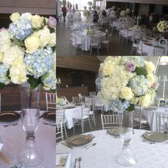 """The Isabel Bader Centre was a dream setting for a wedding. Hydrangea and """"ocean Song"""" roses."""
