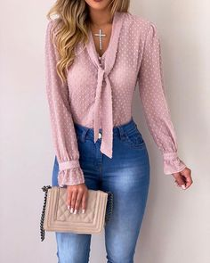 Cysincos chiffon blouses women 2019 autumn fashion long sleeve v-neck pink shirt office blouse slim casual tops female plus size cysincos chiffon blouses women 2019 autu by Chiffon Blouses, Chiffon Shirt, Chiffon Tops, Pink Blouses, Trend Fashion, Autumn Fashion, Fashion Women, Women's Fashion, Fashion Ideas