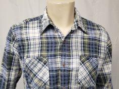 e51313b2e32 Vtg Grunge 90s TARLETON Green White Blue Plaid Flannel Shirt Mens L   Tarleton  ButtonFront
