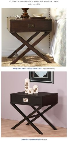 POTTERY BARN DEVON CAMPAIGN BEDSIDE TABLE vs OVERSTOCK'S NAPA BEDSIDE TABLE