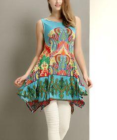 Love this Aqua Paisley Handkerchief Tunic on #zulily! #zulilyfinds