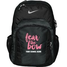 Fear This Girl's Bow | Yeah. You better be scared of my bow. Customize a funny and cute cheer backpack! Fear the bow! Show off your sassy side with this trendy bag.