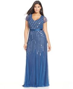 Adrianna Papell Plus Size Sequined Gown-$209.00