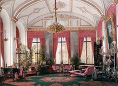 Hau, Edward Petrovich - Interiors of the Winter Palace. The Raspberry Study of Empress Maria Alexandrovna