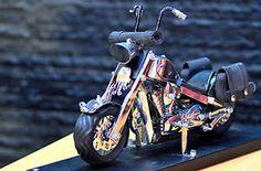 Harley Davidson chopper motor bike miniature Handmade from spoon and fork   #harley #davidson #harleydavidson #handmade #handicraft #motorcycle #motorbike #chopper #miniature #figurine @eBay