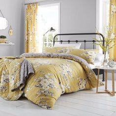 Catherine Lansfield Bedding Sets & Duvet Covers Home, Furniture & DIY Ochre Bedroom, Duvet Cover Sets, Home, Bedroom Design, Bed, Duvet, Duvet Sets, Floral Duvet Cover, Yellow Bedding