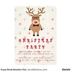 Funny Nerdy Reindeer Christmas Party Invitation SOLD, thank you to the customer in Illinois