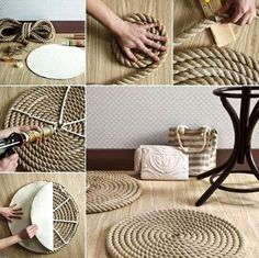 Make a DIY Round Rope Mat or Rug -Depending on how Ambitious You Are: http://www.completely-coastal.com/2014/09/make-diy-round-rope-mat-or-rug.html