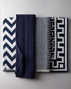 Navy and White Cotton Throws - love all 4