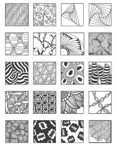 Zentangle pattern sheet by rosalind Zentangle Drawings, Doodles Zentangles, Zentangle Patterns, Doodle Drawings, Doodle Art, Zen Doodle Patterns, Doodle Borders, Doodle Designs, Pencil Drawings
